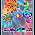 Rock Music Poster by Linda Seacord