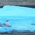 Rock Painting-nude Woman At Ocean by Monika Shepherdson