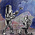 Rocket Man And Robot by Mel Thompson