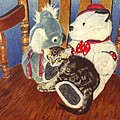 Rocking With Friends - Kitten And Stuffed Animals Painting by Patricia Barmatz