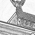 Rooftop Gargoyle Statue Above French Quarter New Orleans Black And White Photocopy Digital Art by Shawn O'Brien