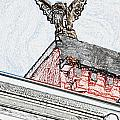 Rooftop Gargoyle Statue Above French Quarter New Orleans Colored Pencil Digital Art by Shawn O'Brien