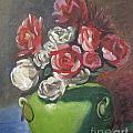 Roses And Green Vase by Lilibeth Andre