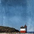 Round Island Lighthouse In Michigan by Jill Battaglia
