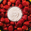 Round Tray Of Strawberries  by Garry Gay