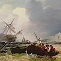 Rowing Boat Going To The Aid Of A Man-o'-war In A Storm by George Chambers