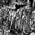 Rows Of Metal Shisha Pipe Arabic Tobacco Smoking Water Pipes On A Stall In The Market In Nabeul  by Joe Fox
