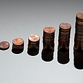 Rows Of Stacks Of Five Cent Euro Coins Increasing In Size by Larry Washburn