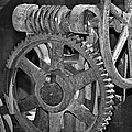 Rust Gears And Wheels Black And White by Phyllis Denton