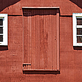 Rustic Red Barn Door With Two White Wood Windows by David Letts