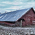 Rustic Red Winter Barn by Debbie Portwood