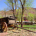 Rustic Wagon At Historic Lonely Dell Ranch - Arizona by Gary Whitton