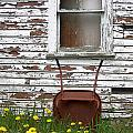 Rusty Wheelbarrow And Wildflowers by Mike Nellums