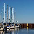 Sailboat Docking By Break Water Wall by Ms Judi