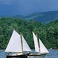 Sailboats And Darkening Sky, Lake by Skip Brown