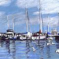 Sailboats And Seagulls by Anita Burgermeister
