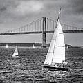 Sailboats Near Bridge by Ercole Gaudioso