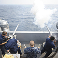 Sailors Perform A 21-gun Salute Aboard by Stocktrek Images