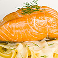 Salmon Steak On Pasta Decorated With Dill Closeup by U Schade