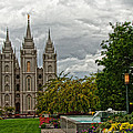Salt Lake City Temple Grounds by La Rae  Roberts