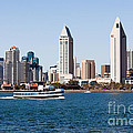 San Diego Skyline And Tour Boat by Paul Velgos
