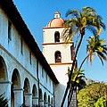 Santa Barbara Mission With Palm Trees by Phil Huettner