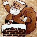Santa Claus Gifts Original Coffee Painting by Georgeta  Blanaru
