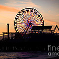 Santa Monica Pier Ferris Wheel Sunset by Paul Velgos