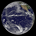 Satellite Image Of Earth Centered by Stocktrek Images