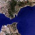 Satellite Image Of The Strait Of Gibraltar by Planetobserver