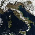 Satellite View Of Snow In Italy by Stocktrek Images