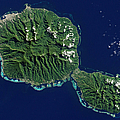 Satellite View Of Tahiti by Stocktrek Images