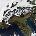 Satellite View Of The Alps by Stocktrek Images