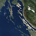Satellite View Of The Croatian Islands by Stocktrek Images