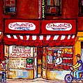 Schwartz's Deli-montreal Street Scenes-painting-by  Quebec Artist-carole Spandau by Carole Spandau