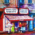 Schwartz's Deli With Lady In Green Dress by Carole Spandau