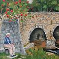 Scottish Man Under Flowering Tree by Judy Swerlick