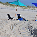 seashore 82 Beach Chairs Beach Umbrella and Tire Treads in Sand by Terri Winkler