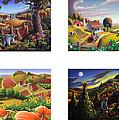 seasonal farm country folk art-set of 4 farms prints amricana American Americana print series by Walt Curlee
