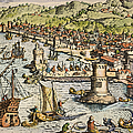 Seville: Departure, 1594. /ndeparture For The New World From Sanlucar De Barrameda, The Port Of Seville, Spain. Line Engraving, 1594, By Theodor De Bry by Granger