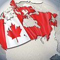 Shape And Ensign Of Canada On A Globe by Dieter Spannknebel