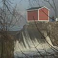 Shed By The Dam In Fog by Barry Doherty
