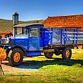 Shell Gas Station And Blue Truck In Bodie Ghost Town by Scott McGuire