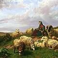 Shepherdess Resting With Her Flock by Edmond Jean-Baptiste Tschaggeny