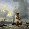 Shipping Off A Jetty by Louis Verboeckhoven