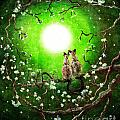 Siamese Cats In Spring Moonlight by Laura Iverson