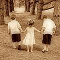 Siblings Taking A Walk by Trudy Wilkerson