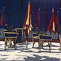 Sidewalk Cafe - Linocut Print by Annie Laurie