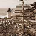 Sign At Point Montara Lighthouse - Sepia by Carol Groenen