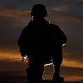 Silhouette Of A U.s. Marine In Uniform by Terry Moore